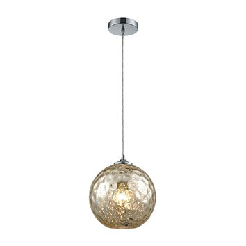 Watersphere 1 Light Pendant in Polished Chrome with Mercury Hammered Glass - Includes Recessed Light