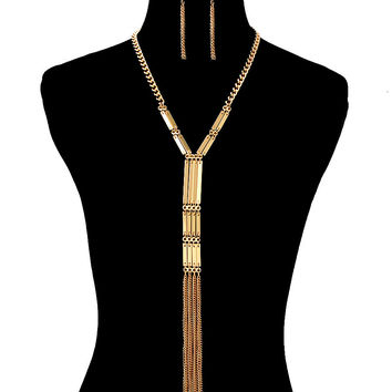 Egyptian TASSEL BAR CHAIN CHOKER Statement Necklace & Earrings Set