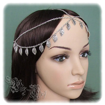 Gypsy Head Piece Bohemian Double Chain Headband Renaissance Medieval Celtic Circlet Boho Headpiece Headdress