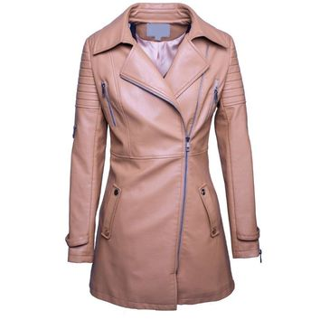 Spring leather Trench Coat Women Autumn New Woman Outerwear Elegant Fashion Casual Motorcycle Biker jacket Long leather Clothes
