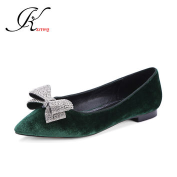 KSJYWQ Green color Women's flats Genuine leather Sexy Pointed-toe Shoes Size 34-39 Women ballet shoe Woman Box Packing SG-a610-1