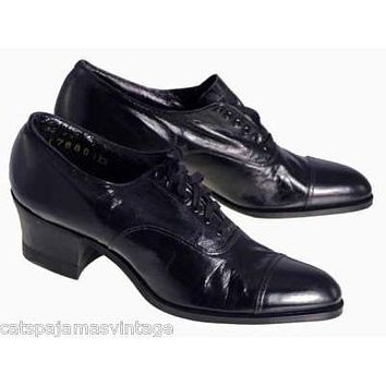 VINTAGE  Oxfords Shoes Black Leather Cap Toe  Walk Over 1920s NIB Size EU35 US5