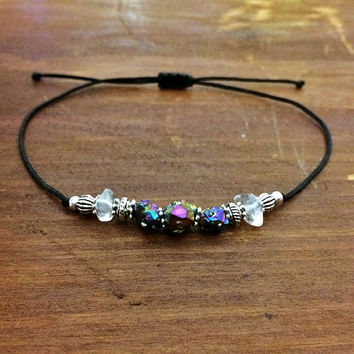 Rainbow Quartz Friendship Bracelet - Best Friend Gift - Bohemian Jewelry - Beaded Bracelet - Boho Jewelry - Crystal Bracelet