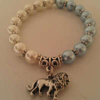 Handmade Blue and White Pearl Lion Bracelet, Lion Charm Bracelet, Blue and White Lion Bracelet, Alpha Delta Pi colors, FREE SHIPPING