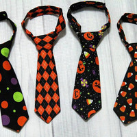 Halloween Boys Neck tie, choice of design, candy corn, pumpkins, dots, argyle. babies, toddlers and boy sizes