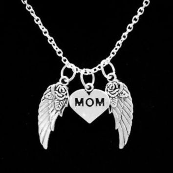Mom Heart Mother Guardian Angel Wing Heaven In Memory Charm Necklace