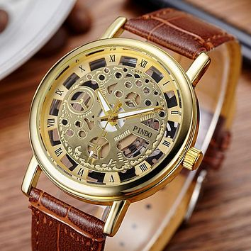 New Brand Luxury Fashion Casual Leather Men Skeleton Dress Wristwatch Steel Quartz Hollow Watches Men PINBO-85