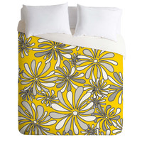Madart Inc. Swirly Flower Gray And Yellow Duvet Cover