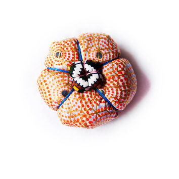 Colorful Polka Dots & Gold Geometric African Print Japanese Puffy Flower Pillbox Cocktail Hat Hair Piece / Brooch Pin - Spring Summer 2013
