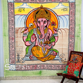 Lord Ganesha Tapestry,Hippie Tapestry,Hippie Boho Wall Hanging, Bohemian Tapestry Throw Block Print Bedspread Bedding, Ethnic Decorative