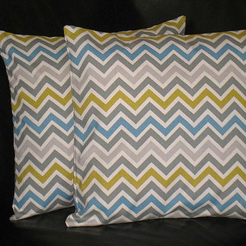 "Euro Shams CHEVRON Decorative Accent Pillow Covers gray 26 inch gray, citrine, natural 26"" Zig Zag"