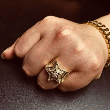 New Arrival AAA Cubic Zirconia Ice Out Bling Golden Ring Gold Color Brass Material Star Hip Hop Rings Men Rock Jewelry Size 7-11