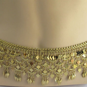 Tribal Belly Chain/Gold Antique Belly Dance Belt/Belly Dance Waist Belt/Belly Dance Costume/Boho Bracelet/Gypsy Belt/Boho Chic Accessory