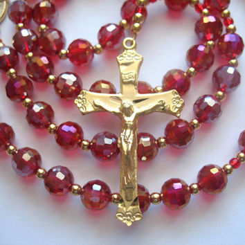 Bright Red Rosary, Catholic Rosary, Red Glass Beads, Catholic Gift, Catholic Prayer Beads
