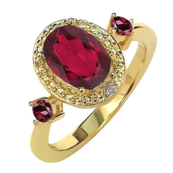 1.79 Ct Mystic Topaz Rhodolite Garnet 18K Yellow Gold Plated Silver Ring