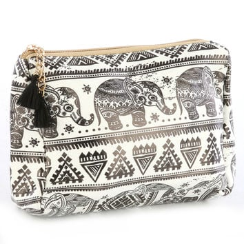 Black and White Elephant Tribal Pattern Travel Pouch Makeup Bag