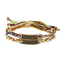 Aeropostale Womens Best Friend Cord Bracelet 2-Pack, One