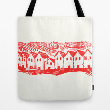 Sad Row (Red) Tote Bag by Eric Fan