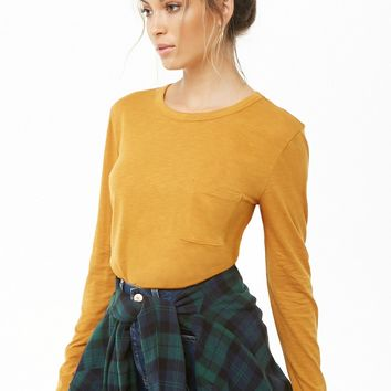 Long Sleeve Patch Pocket Top