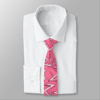 White and Black Zigzags on Pink Necktie