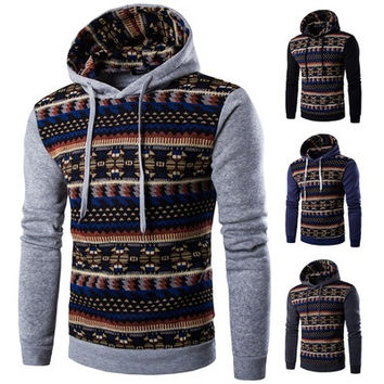 Korean style men's fashion casual slim fit printed Ethnic style hoodies jacket tide 4 colors [8323382913]
