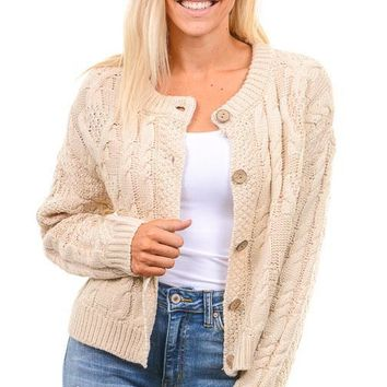 Oatmeal Cable Knit Sweater Cardigan