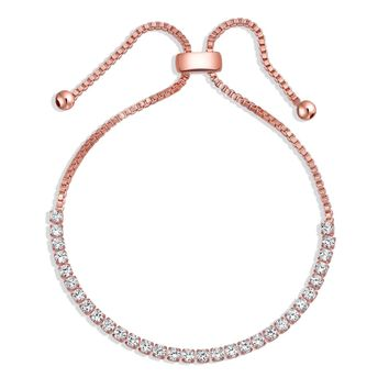 Bolo Style Tennis Bracelet Cubic Zirconia Rose Gold Silver Plated
