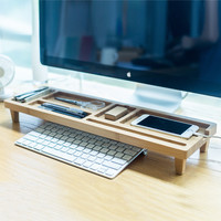 Wood Office Room Desktop PC Keyboard Storage Rack Shelf Wood Anti Dust Cover tidy stationery Sundries Pen Holder