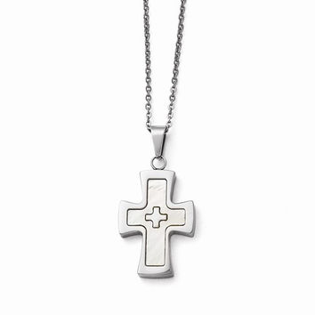 Steel Polished Mother Of Pearl Cross Necklace