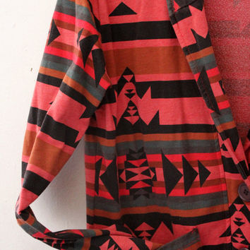 Red Green Black Stripe Aztec Print Cardigan Size S Truly Madly Deeply