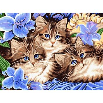 diy oil painting by numbers canvas cat picture adult coloring paint acrylic painting calligraphy by number wall decor landscape