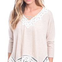Frills and Thrills Lace Up Knit Top
