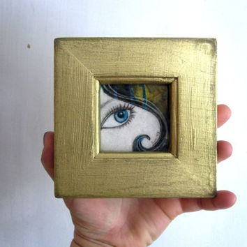 I See Through you, blue eye, rustic gold painted wood frame, Original Artwork,  Fabric on Wood