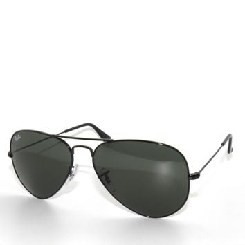 RAY BAN SunglaSSeS 3025 Rayban L2823 BLACK GREEN G15 LARGE AVIATORS 58