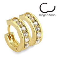 Notion – Gold plated cubic zirconia studded hinged hoop earrings