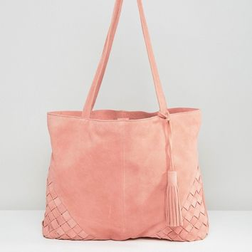 ASOS Suede Shopper Bag With Weave Corners at asos.com
