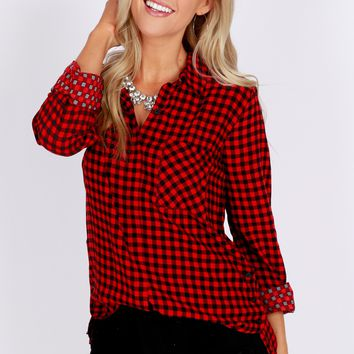 Checkered Button Up Top Red/Black