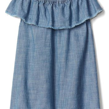Chambray ruffle dress | Gap