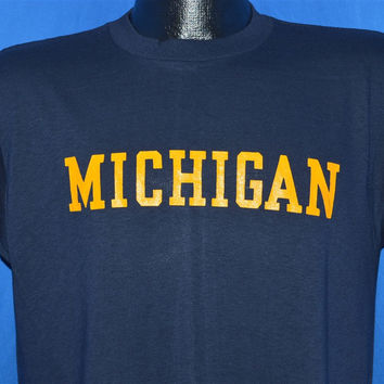 1e8b0bc9955 70s Michigan University UMich Champion Blue Bar t-shirt Medium