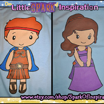 His & Hers Fairytale Cuties - Hercules and Meg (Megara)  Couples T-Shirts Commission