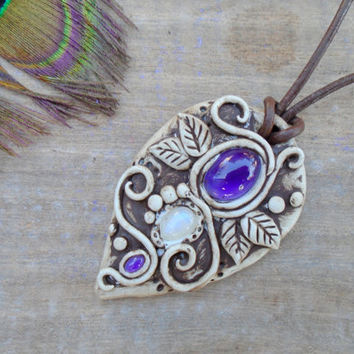 Amethyst Moonstone Goddess Clay Necklace. Divine Feminine Magic Amulet.