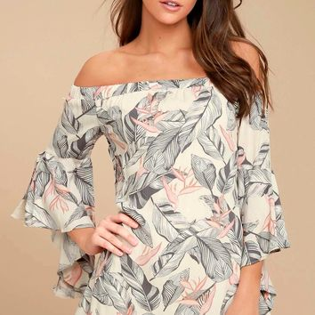 Sun-Drenched Daydream Beige Floral Print Off-the-Shoulder Dress