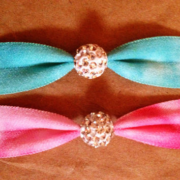 Best Friends Collection in Teal/Hot Pink Tie Dye charm Matte Set of 2 Softies hair ties by Opus 19