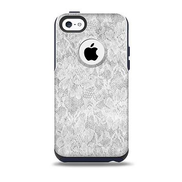 The White Textured Lace Skin for the iPhone 5c OtterBox Commuter Case