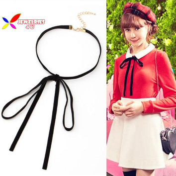 2015 new arrival fashion elegant preppy style Flocked cloth bow tie choker false collar necklaces & pendants for women bijouxs