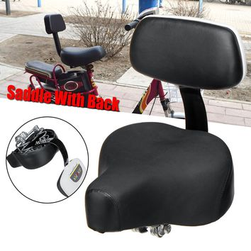 OUTERDO Universal Comfort Gel Tricycle Bike Bicycle Saddle Seat with Back Rest Support PU Leather Cover Bicycle Accessories Part