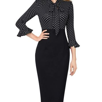 Womens Elegant Bell Sleeve Keyhole Tie Neck Print Patchwork Work Business Office Party Bodycon Sheath Pencil Dress 2572