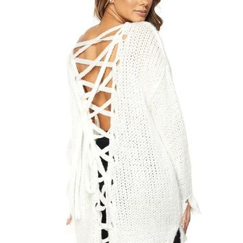 Laced Back Over Sized Sweater