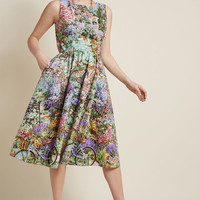 Automatic Classic Midi Dress in Garden Path