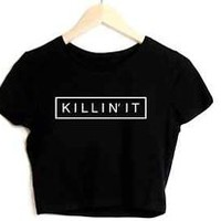 KILLIN' IT Black Crop Top Mean Girls You Can't Sit With Us Swag Brandy Melville
